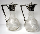 Pair  Art Nouveau Silver & Glass Claret Jugs, Germany C.1900 Wilhelm Binder