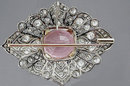 Art Deco Platinum Diamond and Kunzite Brooch 1925