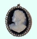 Antique Cameo Diamond Brooch Pendant , C.1920