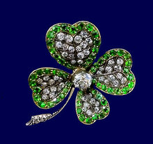 Antique Demantoid and Diamond clover Brooch , England C.1880