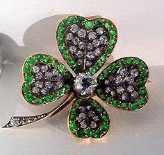 Antique Demantoid and Diamond clover Brooch , England C.1880