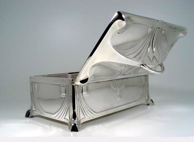 WMF Jugendstil Secessionist Silver plate large Jewellery Box, Germany 1906