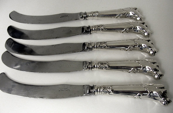 Rare set of 5 silver dog handled Knives, London 1839 by Storr & Mortimer.