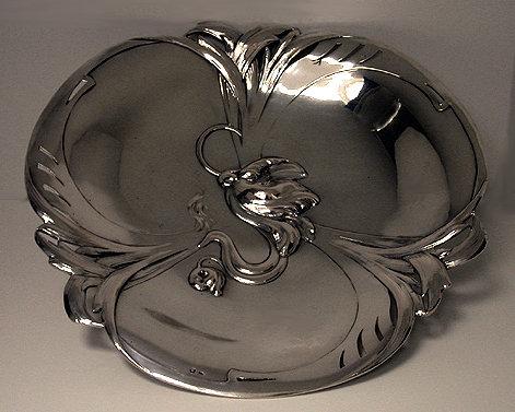 Art Nouveau Continental Silver large Dish, Austro Hungarian C.1890