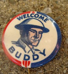 WWI WELCOME BUDDY  CELLULOID  PINBACK