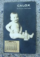 CALOX ADVERTISING CALENDAR-1915-BABY IMAGE WITH CALOX TOOTH POWDER