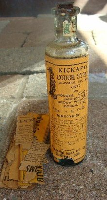 KICKAPOO COUGH SYRUP BOTTLE-UNOPENED;INDIAN IMAGE