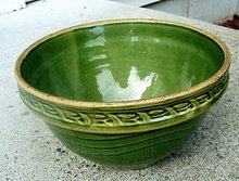 GREENWARE BOWL- GREEN GLAZE OVER YELLOWARE