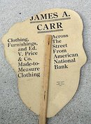 ADVERTISING FAN - LADY'S FACE-JAMES CARR