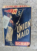 SCARCE UNION MAID SCRAP TOBACCO PACK-PATRIOTIC LADY IMAGE