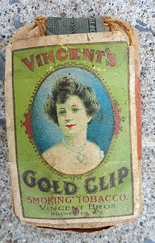 EARLY VINCENT'S GOLD CLIP SMOKING TOBACCO PACK-PRETTY LADY IMAGE
