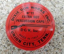 DIXIE GUN PERCUSSION CAPS TIN-RIFLE IMAGE