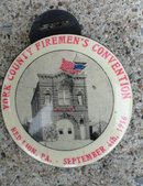 YORK COUNTY FIREMAN'S CONVENTION  CELLULOID WATCH FOB-1916;  FIREHOUSE & PRETTY LADY IMAGES