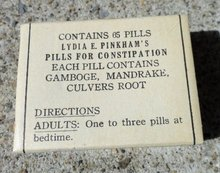 LYDIA E. PINKHAM  LAXATIVE BOX-CONTENTS