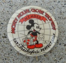 MICKEY MOUSE GLOBE TROTTERS CELLULOID PINBACK