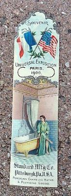 ADVERTISING CELLULOID BOOKMARK- GRAPHIC AND COLORFUL- UNIVERSAL EXPOSITION, PARIS-1900