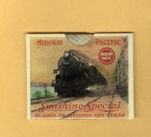 SCARCE MISSOURI PACIFIC RAILROAD ADVERTISING CELLULOID  BOOKLET WITH INSERT-LOCOMOTIVE TRAIN IMAGE