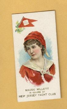 ANTIQUE DUKE CIGARETTES TOBACCO INSERT CARD-MAUDE MILLETT IN COLORS OF NEW JERSEY YACHT CLUB