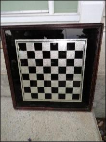 EARLY REVERSE PAINTING ON GLASS CHECKERBOARD