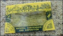 BAKERS CELLULOID ADVERTISING NAME BADGE