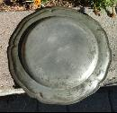 ANTIQUE SCALLOPED PEWTER PLATE