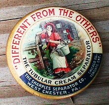 ADVERTISING CELLULOID PINBACK-SHARPLES CREAM SEPARATOR