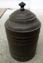 VICTORIAN-ERA TIN CANNISTER WITH HINGED LID