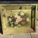 EARLY FOLK ART PAINTING ON BOARD-FLOWERS