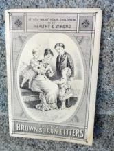BROWN'S IRON BITTERS TRI-FOLDER TRADE CARD