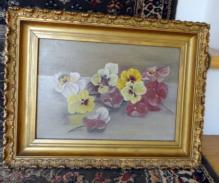 VICTORIAN PANSY PAINTING ON CANVAS