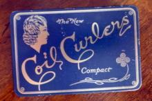 COIL CURLERS COMPACT TIN/CONTENTS-LADY IMAGE