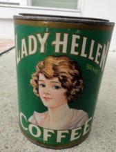 LADY HELLEN COFFEE TIN - 1 LB. SIZE-PRETTY LADY IMAGE