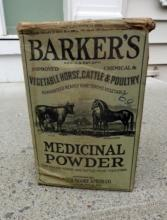 BARKER'S MEDICINAL POWDER BOX-GRAPHIC;VETERINARY