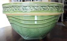 LARGE GREEN GLAZE ON YELLOWARE(YELLOW WARE, YELLOW WARE) BOWL