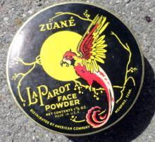 ZUANE LA PAROT FACE POWDER BOX-PARROT IMAGE; UNOPENED