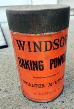 WINDSOR BAKING POWDER TIN- WLTER MCEWAN, ALBANY, NY