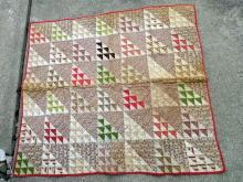 19TH C. CHILD'S OR BABY CRIB QUILT- GREAT COLORS