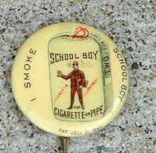 SMOKE SCHOOL BOY CIGARETTE  OR PIPE TOBACCO CELLULOID PINBACK