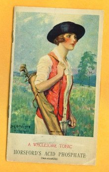 HORSFORD'S ACID PHOSPHATE FOLDER/LADY GOLFER IMAGE