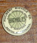 RARE HULBERT BICYCLE CELLULOID LAPEL BUTTON/SARATOGA