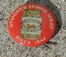 ATMORE MINCED MEAT CELLULOID PINBACK BUTTON