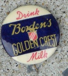 DRINK BORDEN'S GOLDEN CREST MILK CELLULOID PINBACK
