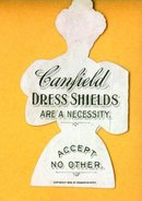 CANFIELD DRESS SHIELDS DIE-CUT TRADE CARD; PRETTY LADY