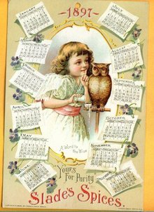 SCARCE 1897 SLADE'S SPICES CALENDAR-GRAPHIC