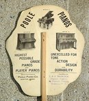POOLE PIANOS ADVERTISING FAN-PRETTY GIRL