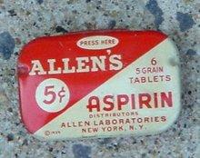 ALLEN'S 5c ASPIRIN TIN