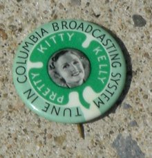 COLUMBIA BROADCASTING SYSTEM (CBS) KITTY KELLY CELLULOID PINBACK BUTTON