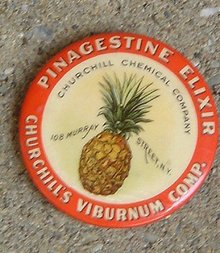 PINAGESTINE ELIXIR CELLULOID BUTTON (MEDICINAL)