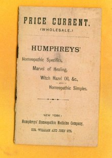 RARE PRICE CURRENT (WHOLESALE) hUMPHREYS'  HOMEOPATHIC SPECIFICS BOOKLET