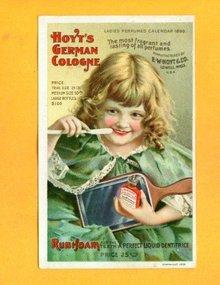 1899 CALENDAR HOYT'S GERMAN COLOGNE/RUBIFOAM DENTAL TRADE CARD-GRAPHIC